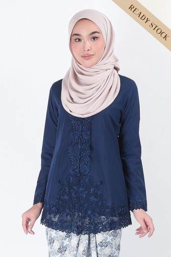 (AFTER RAYA) Kebaya Mariani Dark Blue (Top Only)