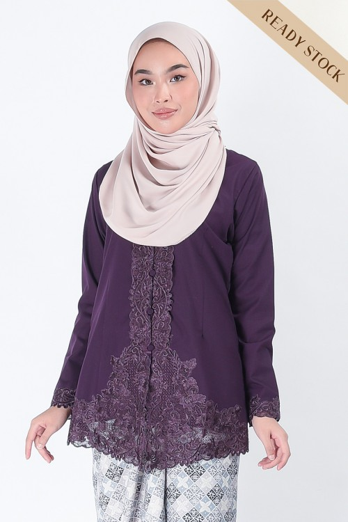 (AFTER RAYA) Kebaya Mariani Dark Purple (Top Only)