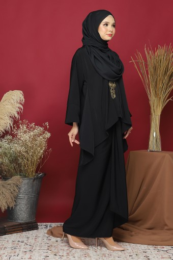 Kebaya Kaftan Afya set in Charcoal Black