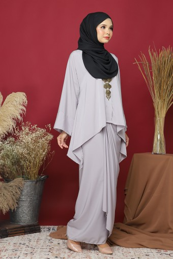 Kebaya Kaftan Afya set in Fossil Grey