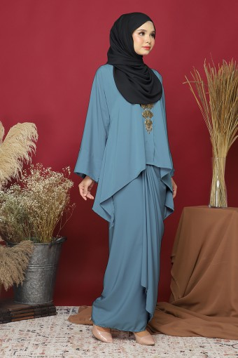 Kebaya Kaftan Afya set in Jade Green