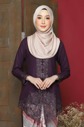 Kebaya Sulam Azalea - Dark Purple (Top Only)