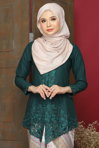 Kebaya Sulam Azalea - Emerald Green (Top Only)