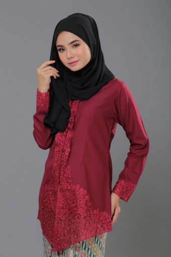 Kebaya Sulam Luxe - MAROON (TOP ONLY)