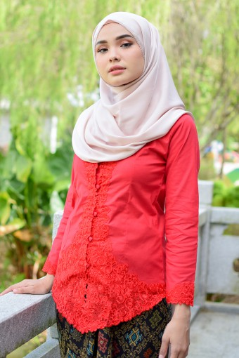Kebaya Sulam Meili - RED CHILLI (TOP ONLY)