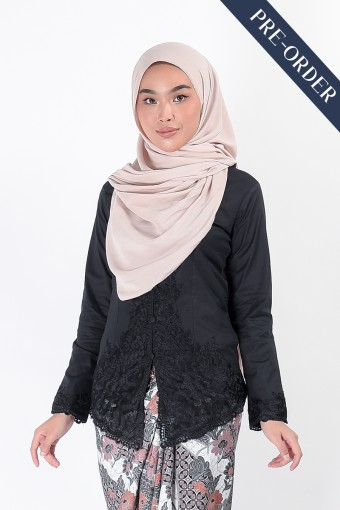 (PRE-ORDER) Kebaya Nismara Black (Top Only)