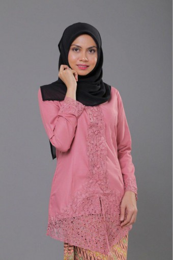 Kebaya Sulam Luxe - SALMON PINK (TOP ONLY)
